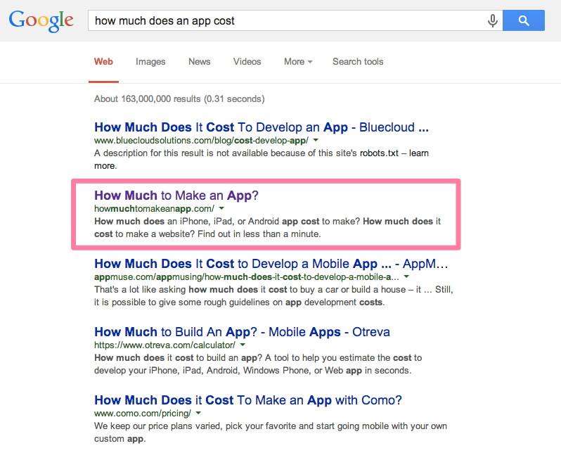 how much to make an app google search results